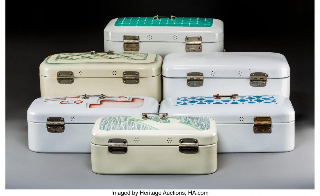 79341: Six Art Deco Spritzdekor Enameled Bread Boxes Ci - 2