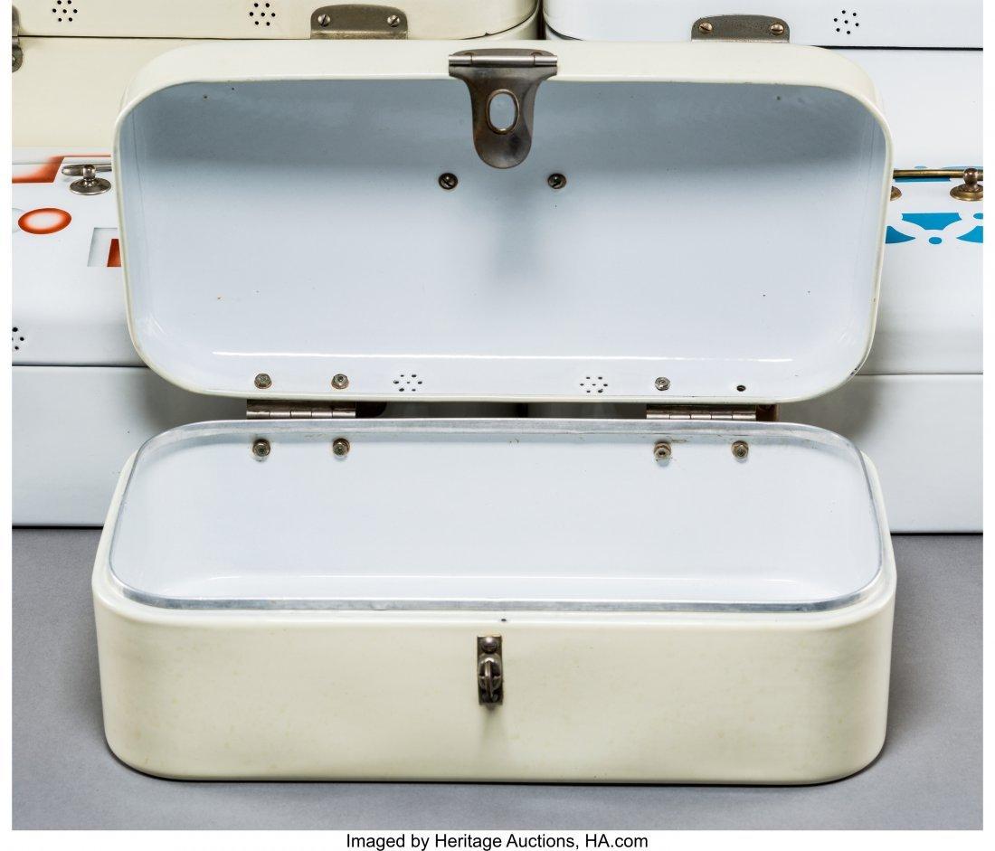 79341: Six Art Deco Spritzdekor Enameled Bread Boxes Ci - 3
