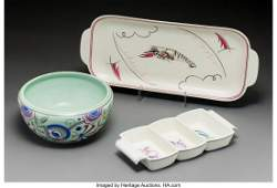 79342: Two Poole Pottery Servers and a Bowl Circa 1937.