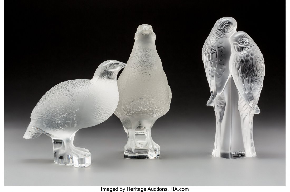 79372: Three Lalique Clear and Frosted Glass Bird Group