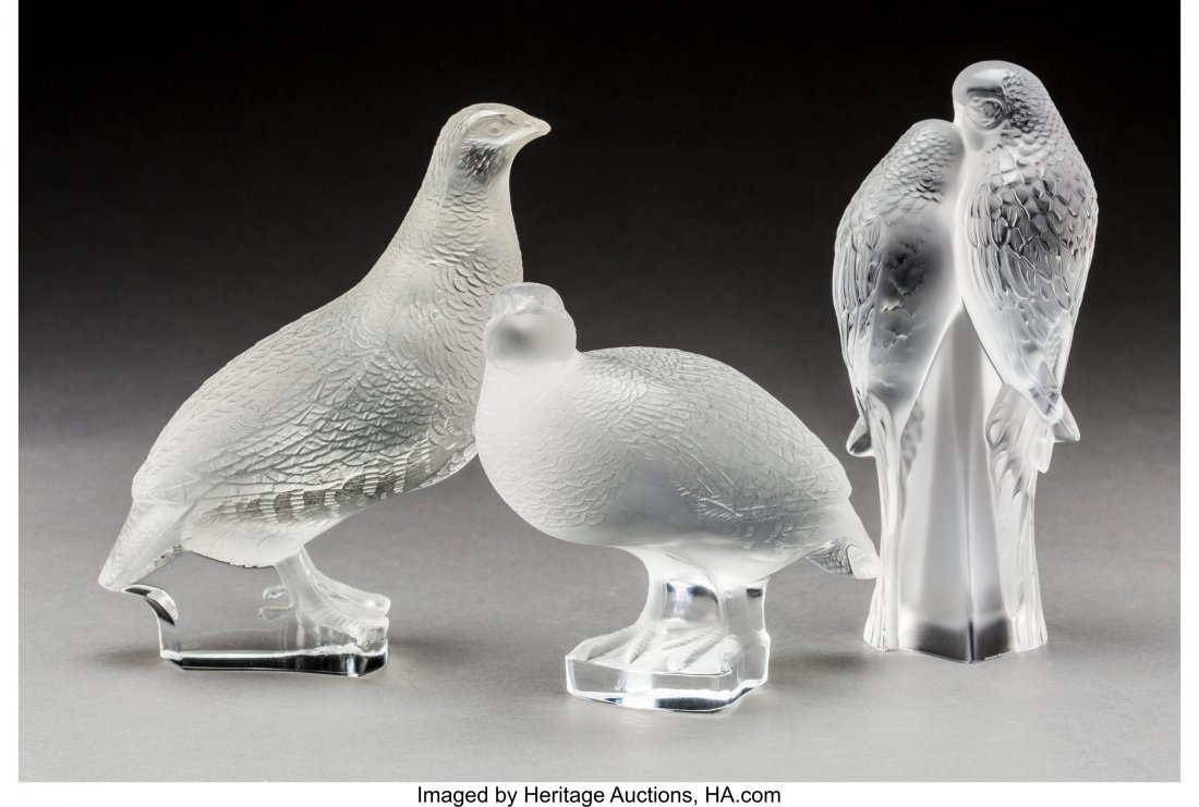 79372: Three Lalique Clear and Frosted Glass Bird Group - 2