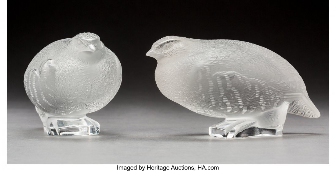 79373: Two Lalique Frosted Glass Partridge Birds Post-1