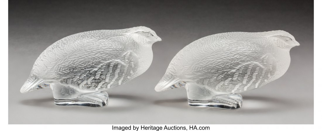 79373: Two Lalique Frosted Glass Partridge Birds Post-1 - 2