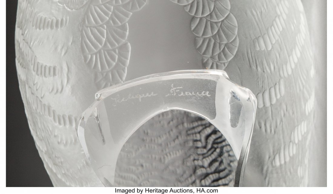 79373: Two Lalique Frosted Glass Partridge Birds Post-1 - 3