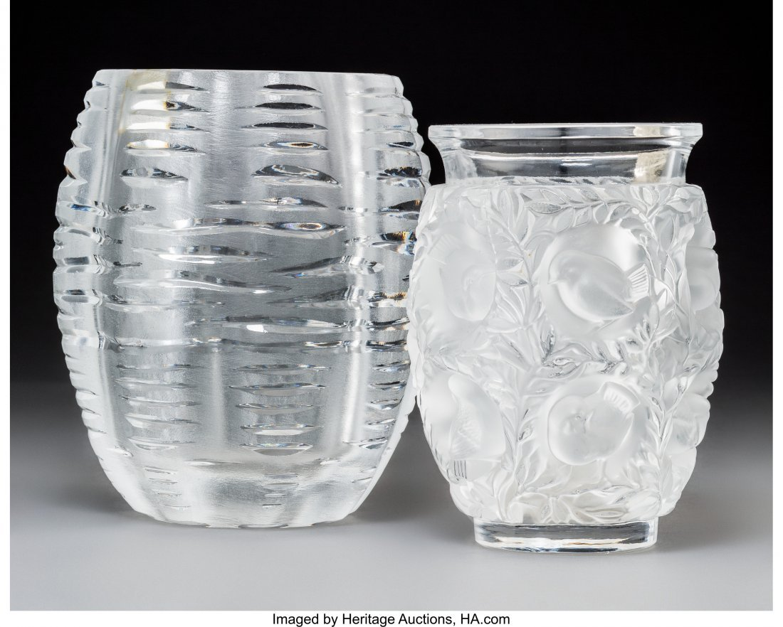 79350: Two Lalique Clear and Frosted Glass Vases Post-1