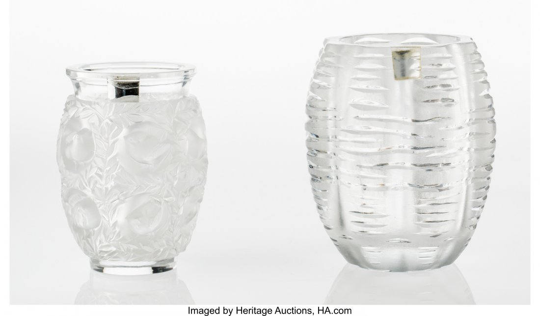 79350: Two Lalique Clear and Frosted Glass Vases Post-1 - 3