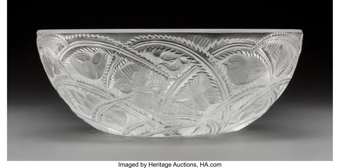 79358: Lalique Clear and Frosted Glass Pinsons Coupe Po