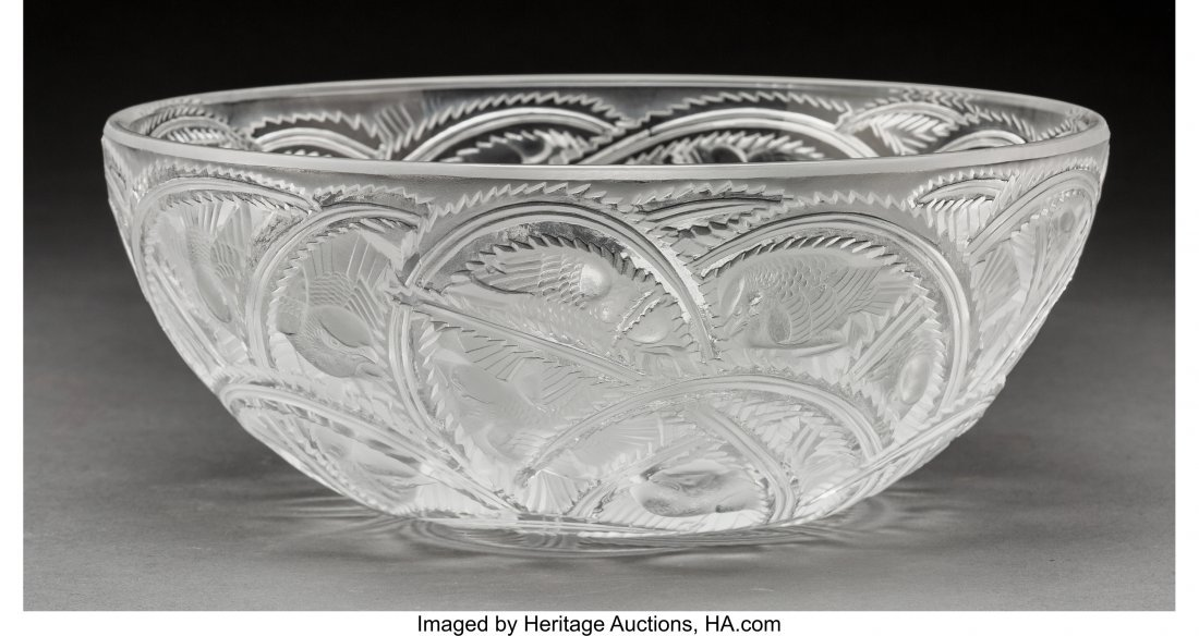 79358: Lalique Clear and Frosted Glass Pinsons Coupe Po - 2