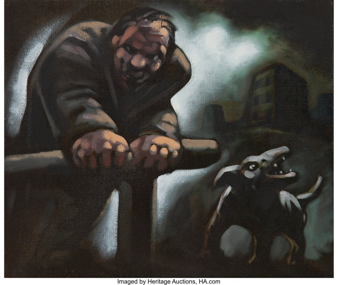 77105: Peter Howson (b. 1958) Untitled (Man and dog) Oi