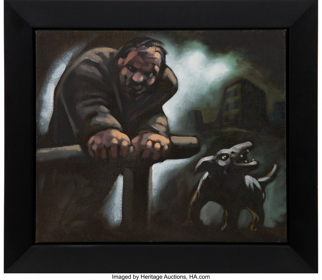 77105: Peter Howson (b. 1958) Untitled (Man and dog) Oi - 3