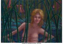 77117: Leonard J. Koscianski (b. 1952) Blond in Pond Pa