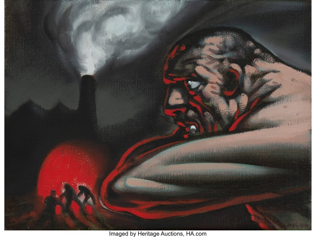 77104: Peter Howson (b. 1958) Untitled (Working men) Oi