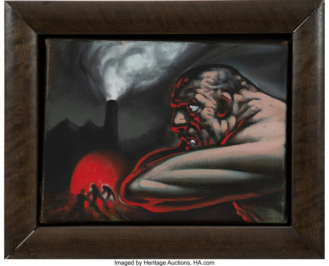 77104: Peter Howson (b. 1958) Untitled (Working men) Oi - 3