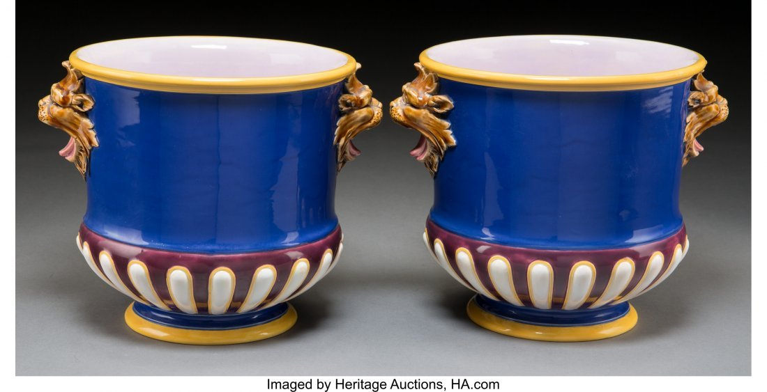 61109: A Pair of Minton Majolica Cache Pots, Stoke-on-T