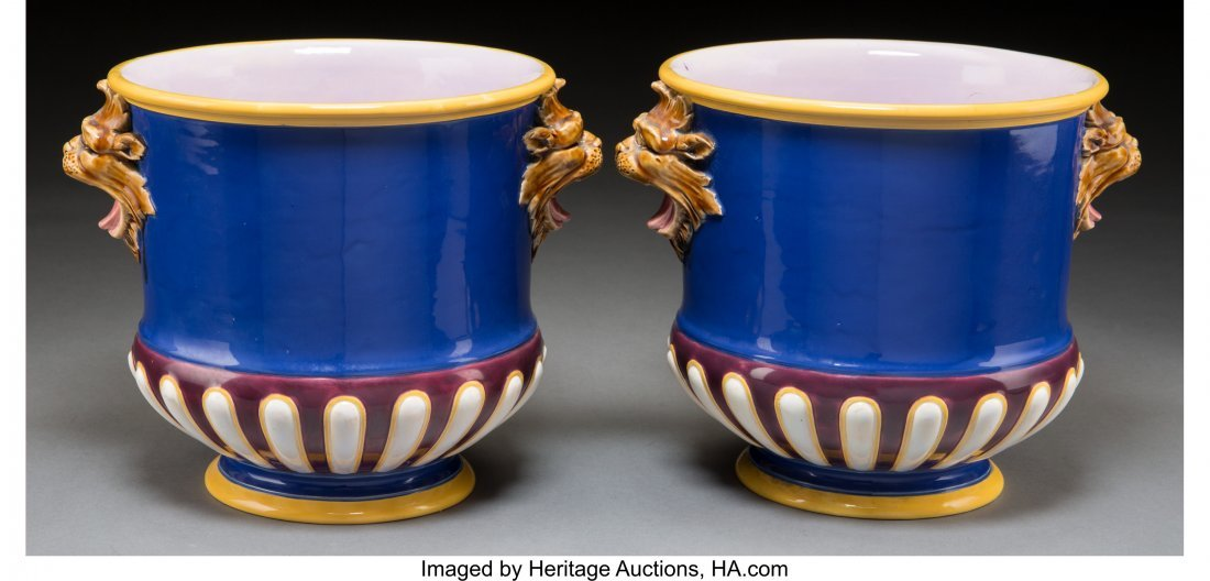 61109: A Pair of Minton Majolica Cache Pots, Stoke-on-T - 2