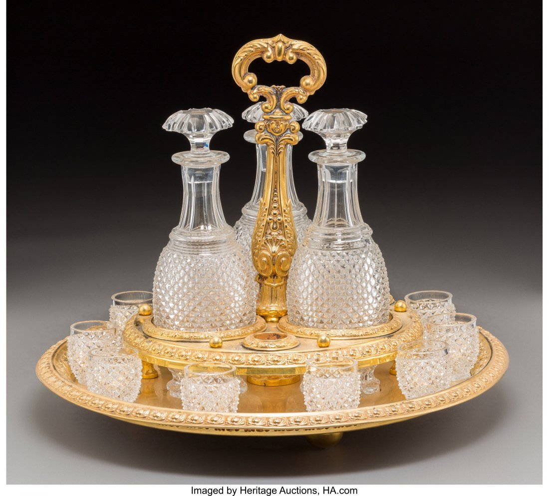 61009: A Fourteen-Piece Baccarat-Style Cut-Glass and Gi