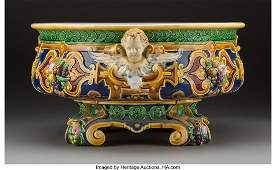 61111 A Large English Majolica Centerbowl with Putti H
