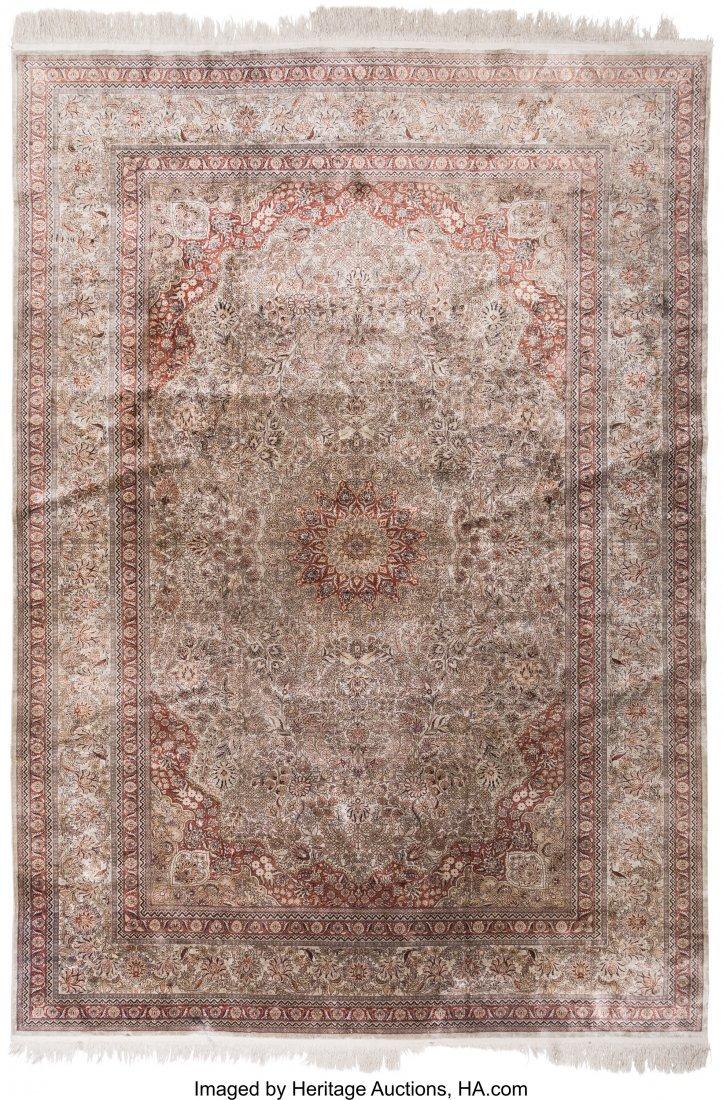 61124: A Kayseri Silk Carpet 9 feet 8 inches long x 6 f