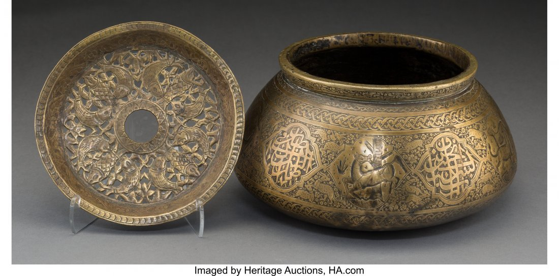 61125: An Egyptian Engraved Brass Censer and Cover, 17t - 2