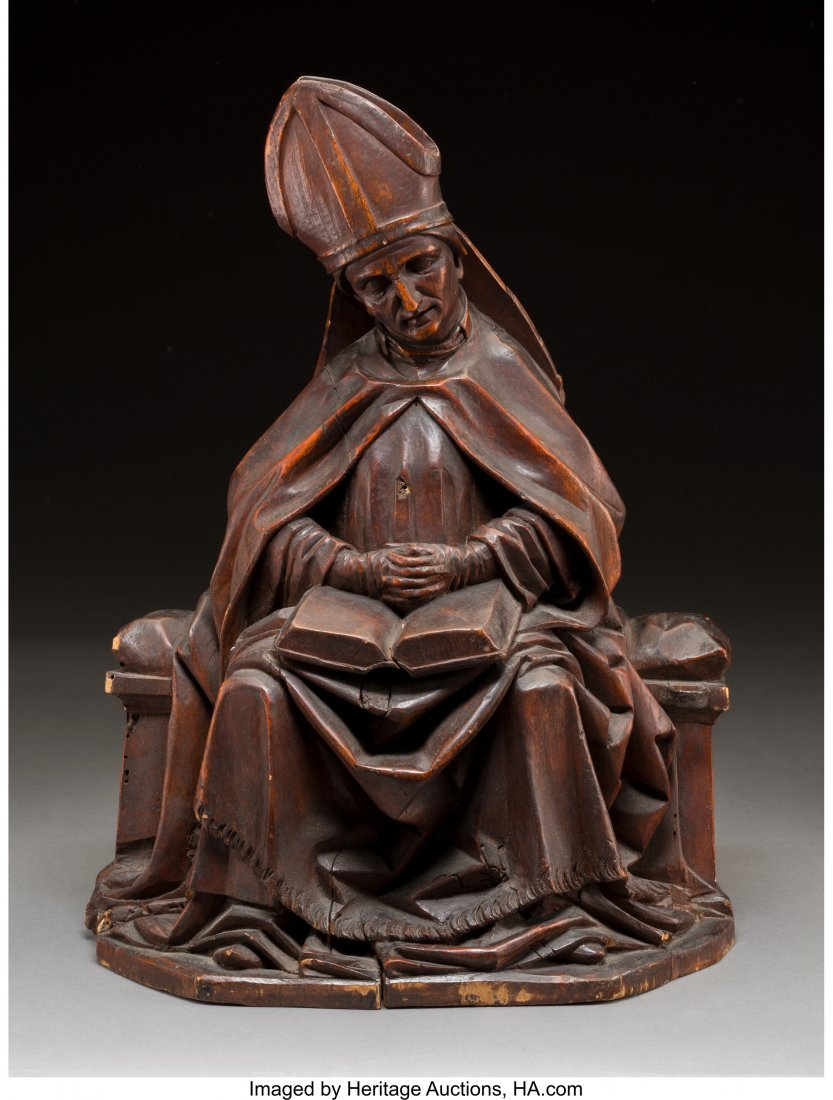 61072: A Continental Carved Wood Ecclesiastical Figure