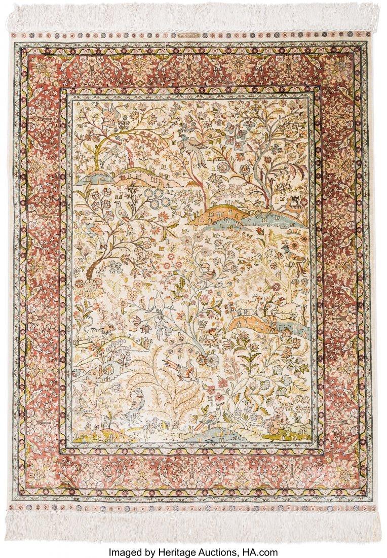 61127: Two Persian Silk and Bullion Prayer Rugs 5 feet