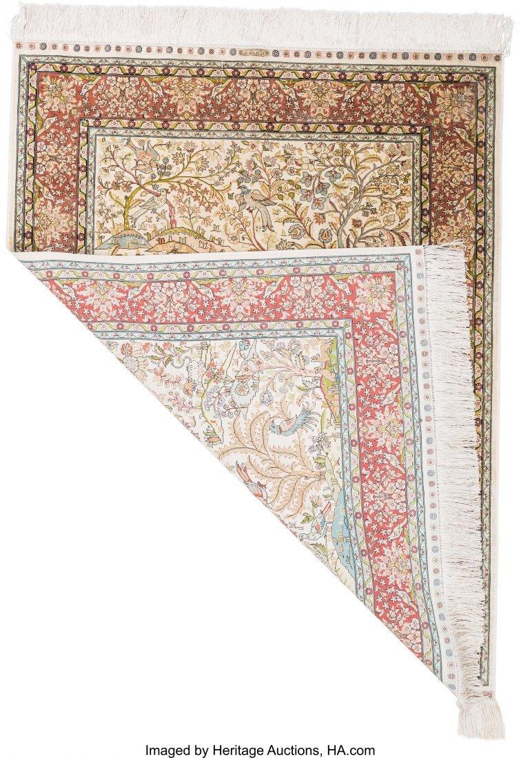 61127: Two Persian Silk and Bullion Prayer Rugs 5 feet  - 2