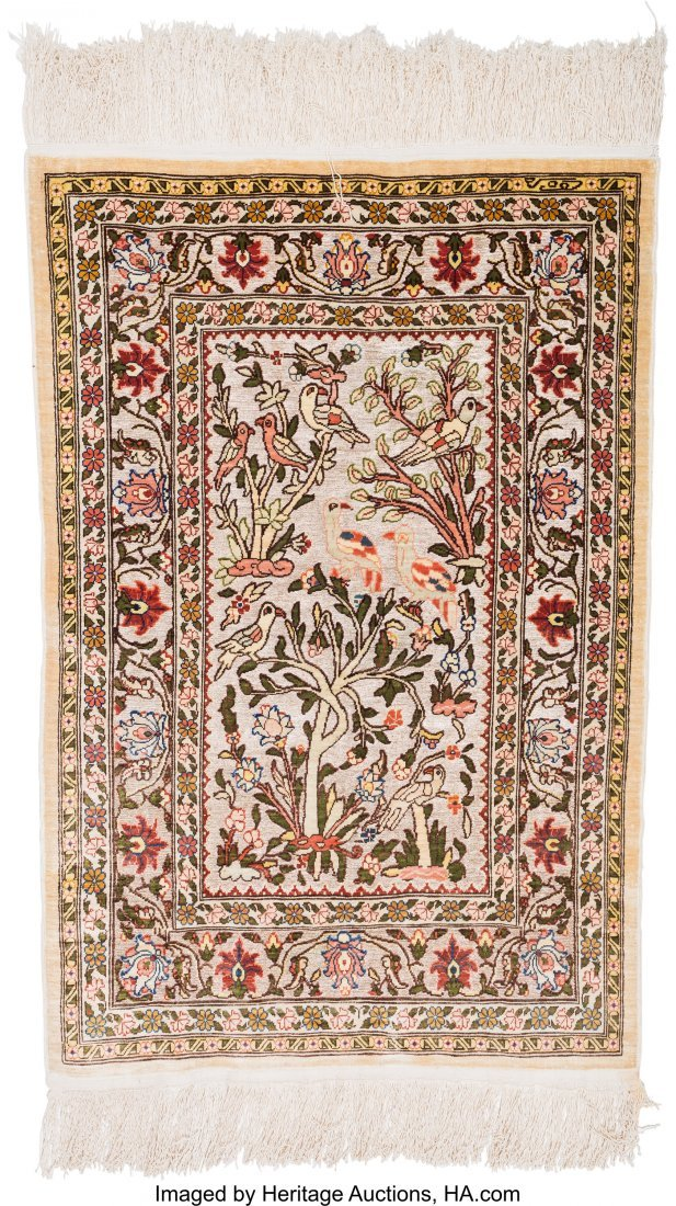 61127: Two Persian Silk and Bullion Prayer Rugs 5 feet  - 3