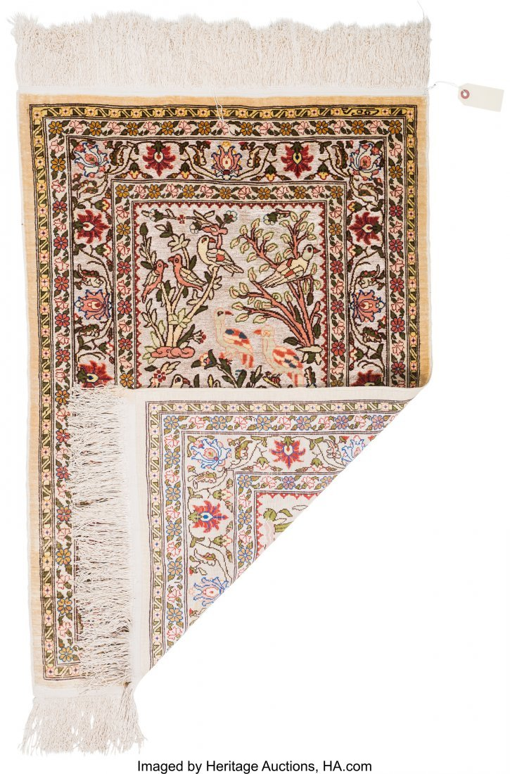 61127: Two Persian Silk and Bullion Prayer Rugs 5 feet  - 4