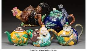 Five Minton and English Majolica Figural Teapots