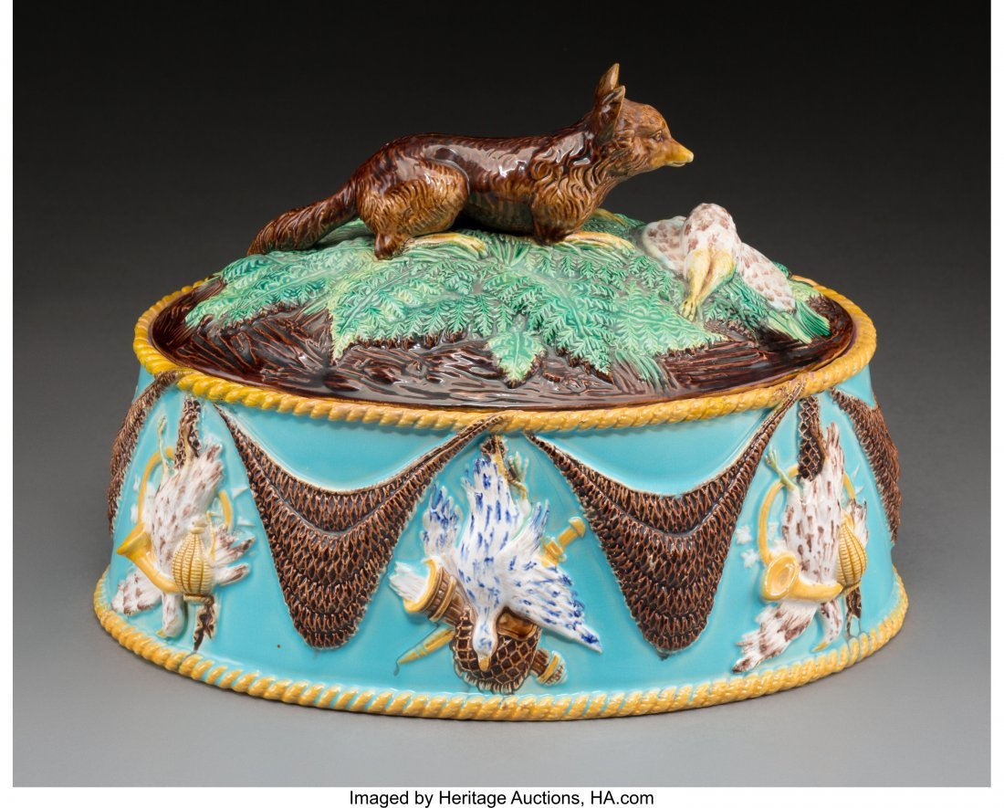 61096: A George Jones Majolica Covered Games Dish with