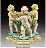 61097 A Large Minton Majolica Figural Centerpiece with
