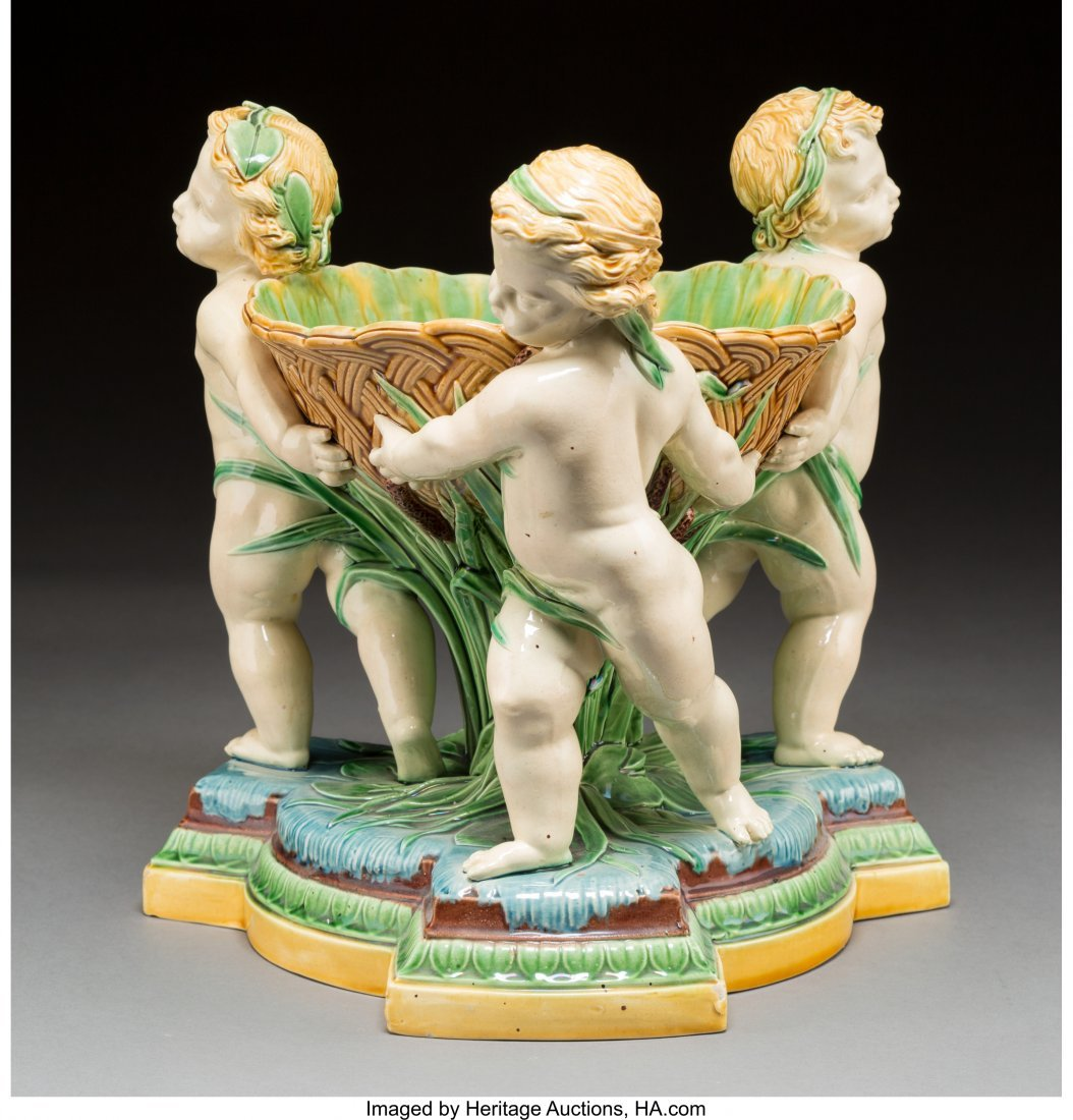 61097: A Large Minton Majolica Figural Centerpiece with