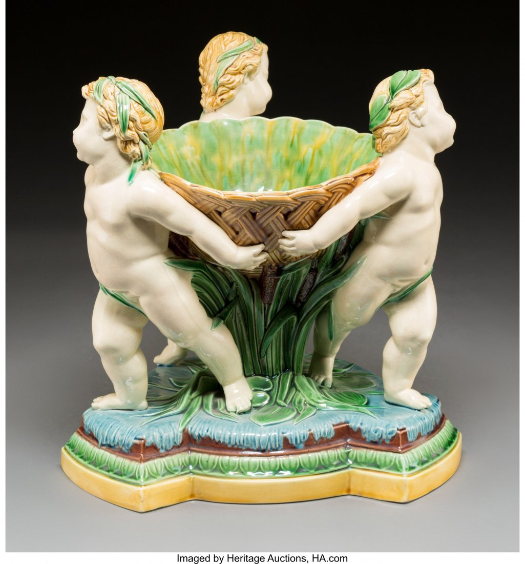 61097: A Large Minton Majolica Figural Centerpiece with - 2