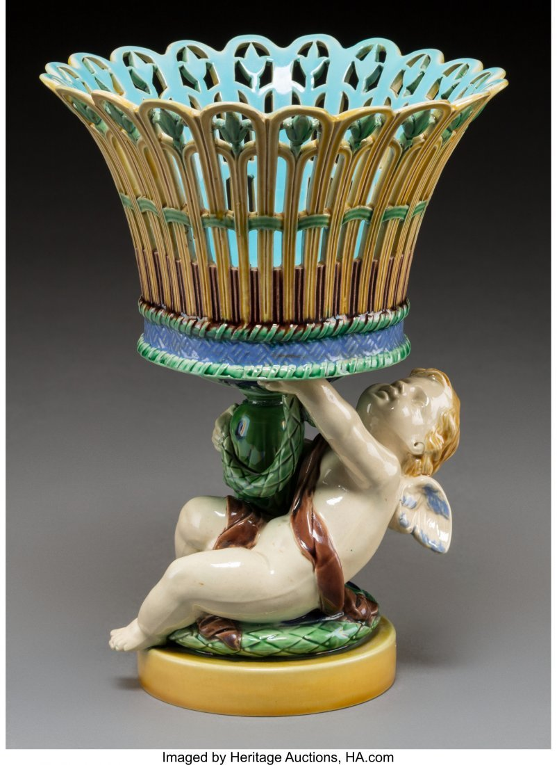 61099: A Minton Majolica Reticulated Figural Centerpiec