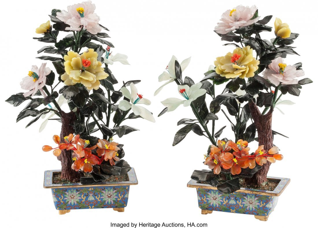 61209: A Pair of Chinese Hardstone Trees in Cloisonné