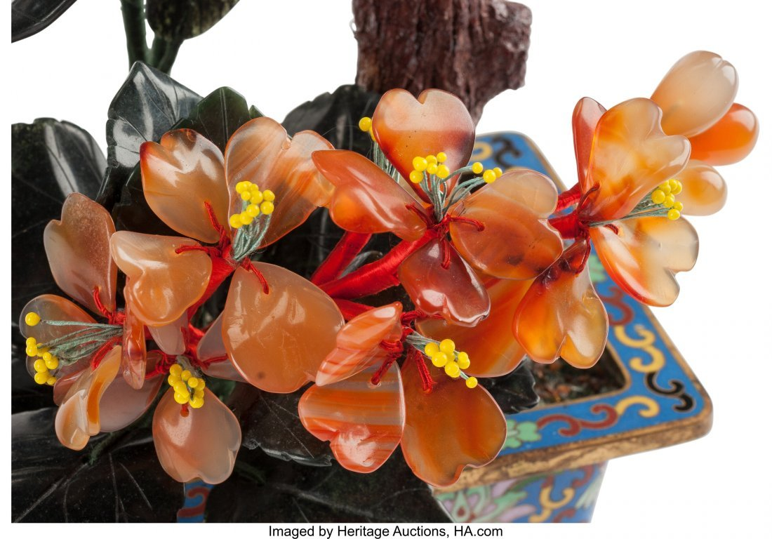 61209: A Pair of Chinese Hardstone Trees in Cloisonné  - 2
