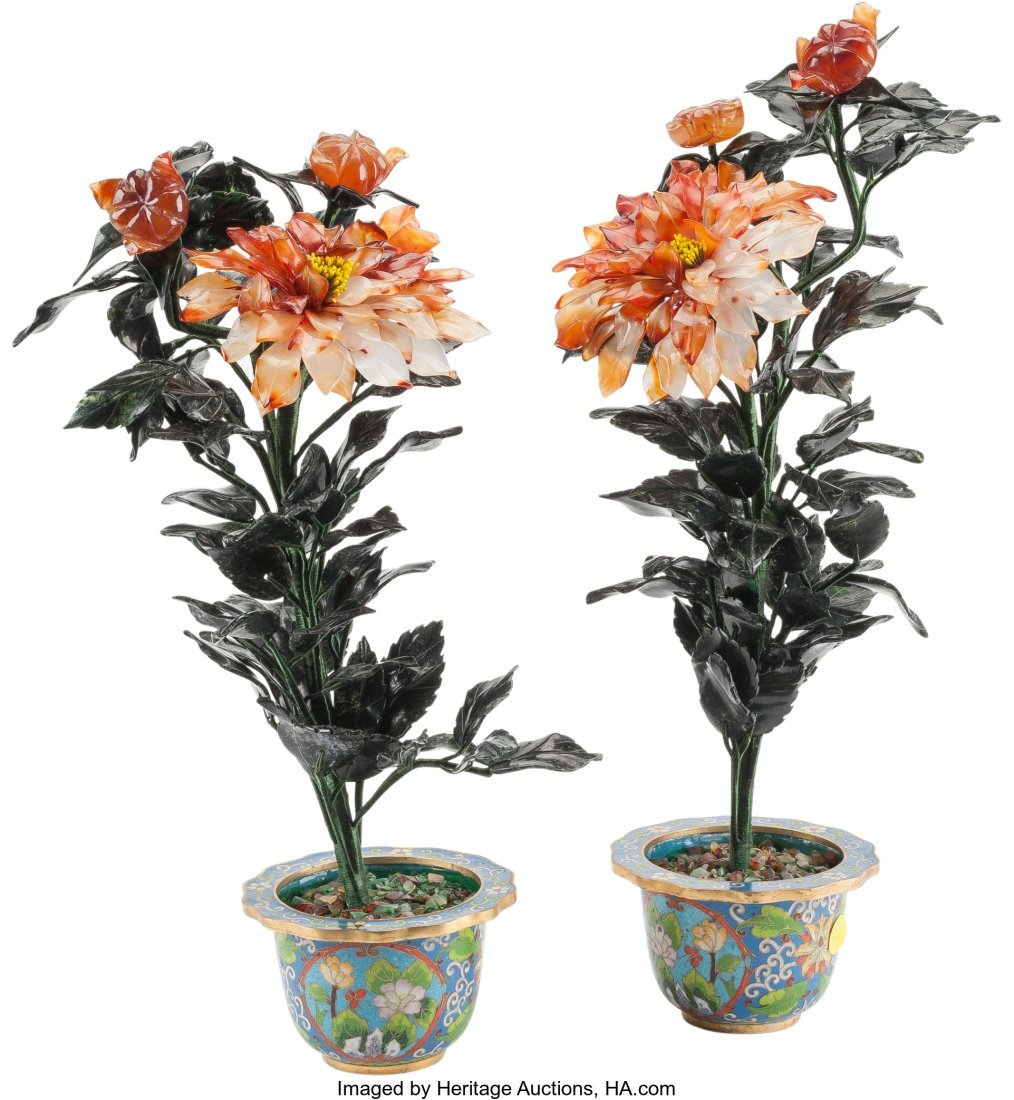 61211: A Pair of Chinese Hardstone Chrysanthemums in Cl