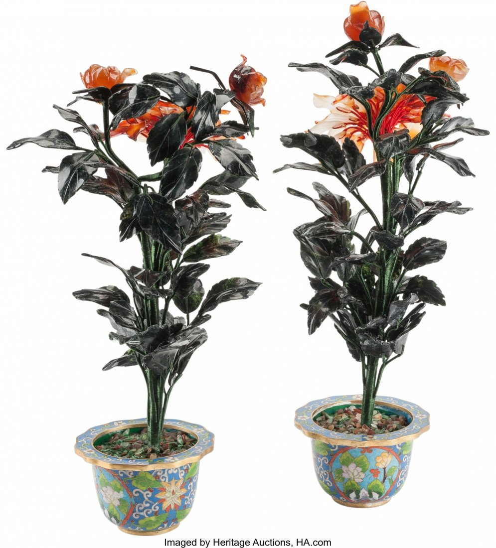 61211: A Pair of Chinese Hardstone Chrysanthemums in Cl - 2