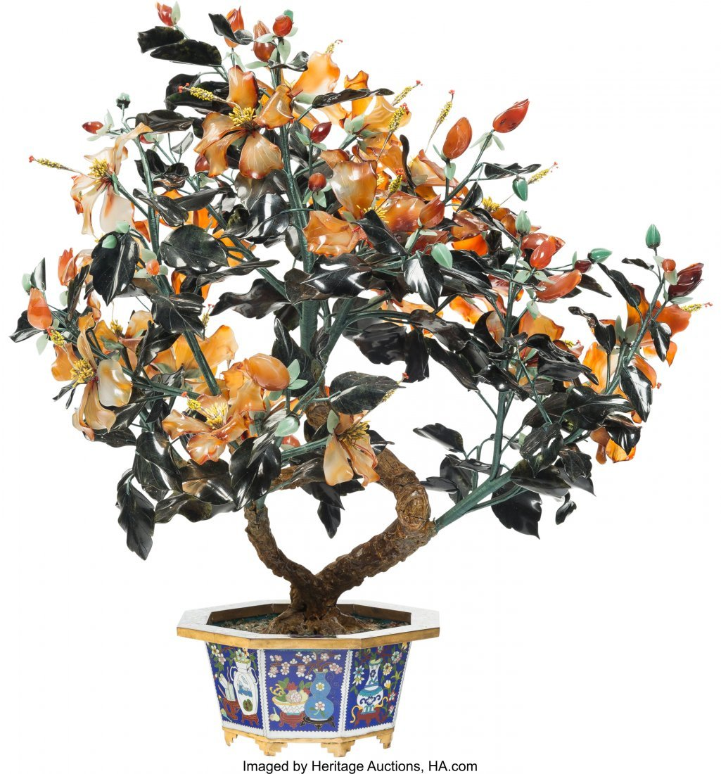 61212: A Large Chinese Jade, Agate, and Hardstone Tree  - 2