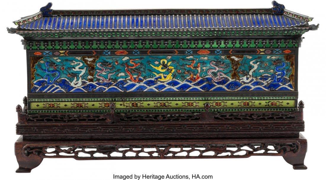 61226: A Chinese Enameled Pagoda-Form Box on Hardwood S