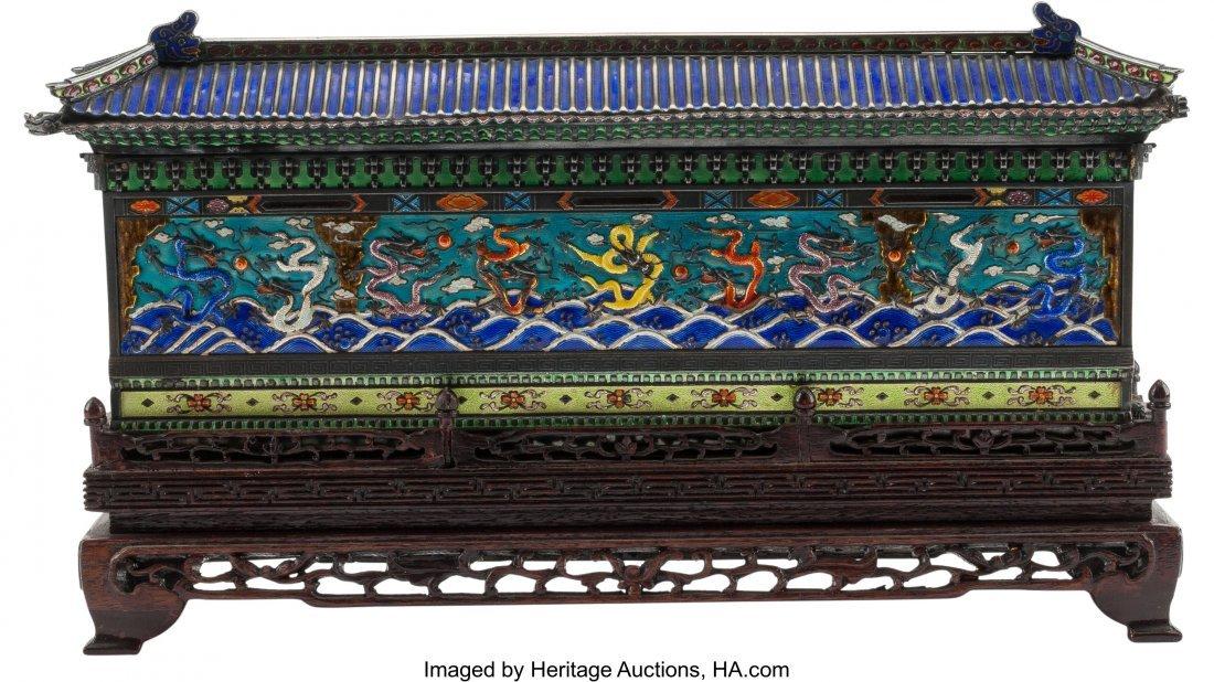61226: A Chinese Enameled Pagoda-Form Box on Hardwood S - 2