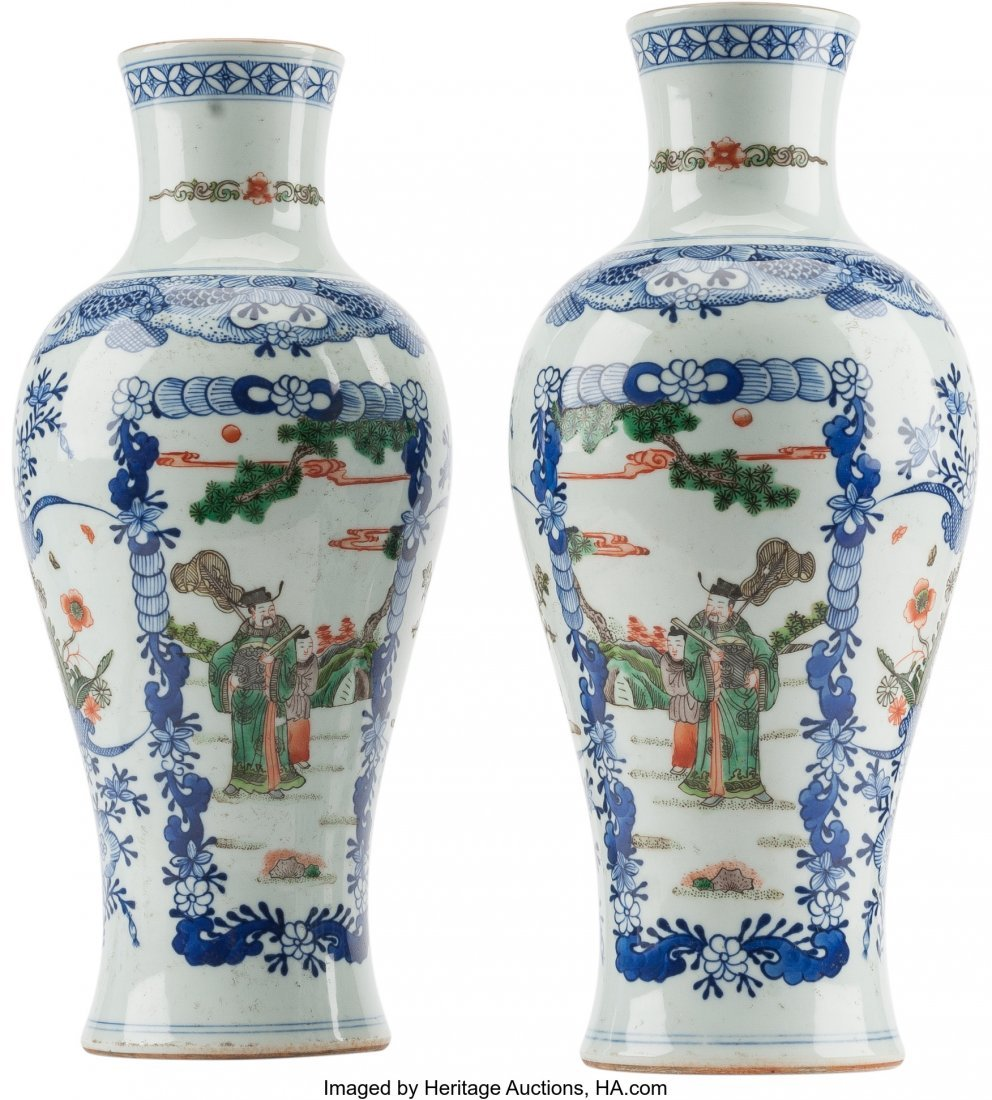 61239: A Pair of Chinese Blue and White Porcelain Vases