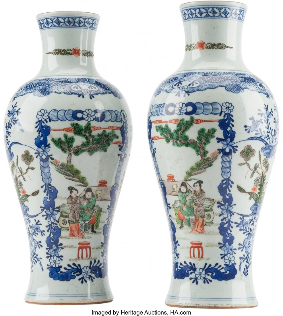 61239: A Pair of Chinese Blue and White Porcelain Vases - 2