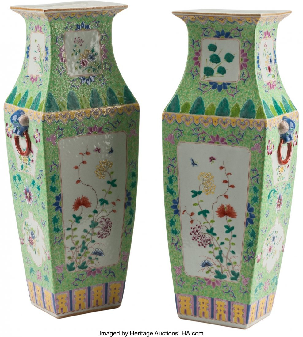61244: A Pair of Chinese Enameled Porcelain Vases 16 h