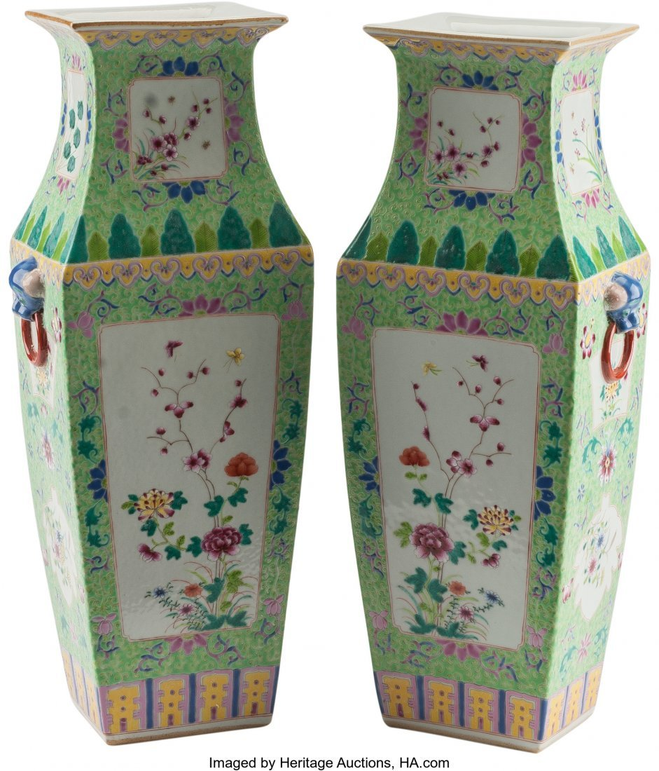 61244: A Pair of Chinese Enameled Porcelain Vases 16 h  - 2