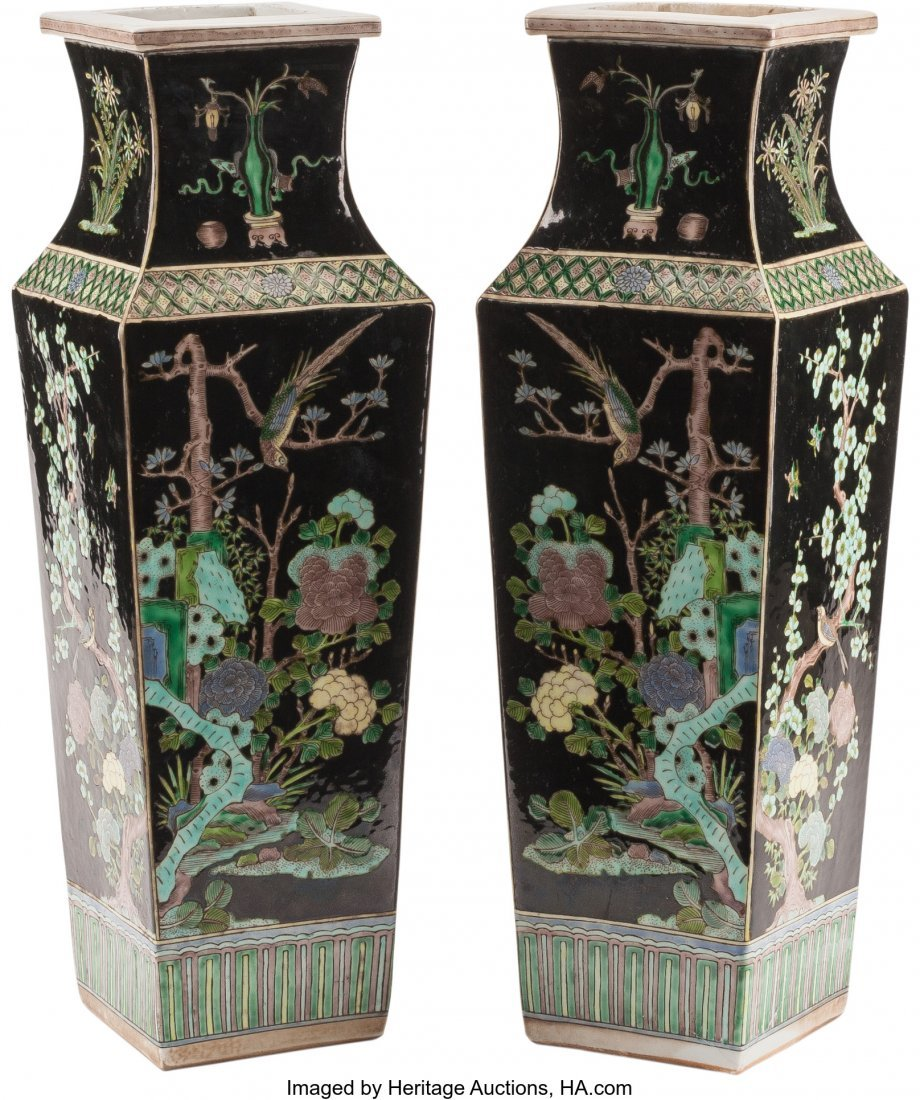 61251: A Pair of Chinese Famille Noire Porcelain Vases