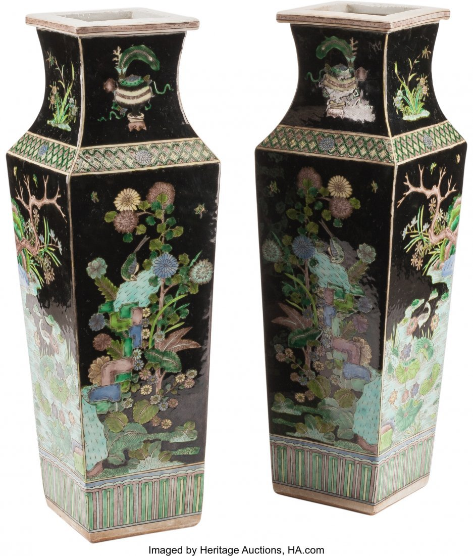 61251: A Pair of Chinese Famille Noire Porcelain Vases  - 2