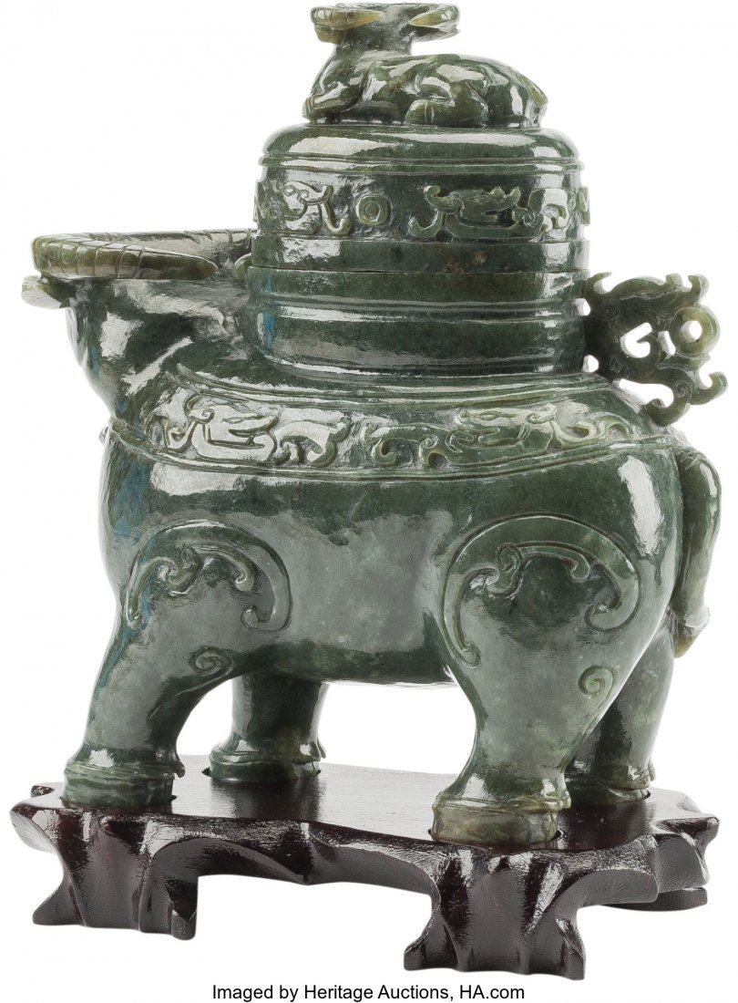 61257: A Chinese Carved Spinach Jade Figural Ox Censer  - 2