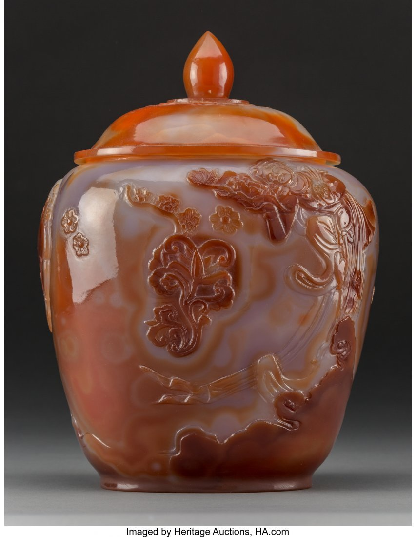 61263: A Chinese Carved Carnelian Agate Covered Jar 11-