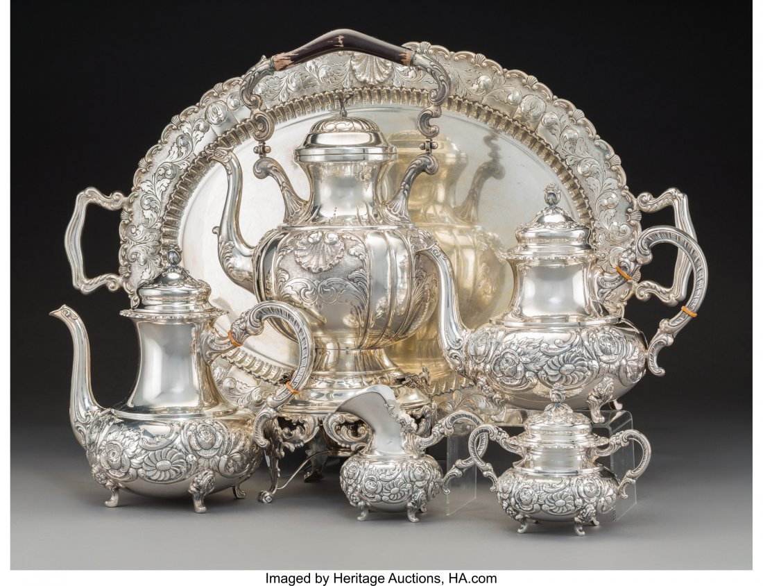 61298: A Four-Piece German Silver Tea and Coffee Servic